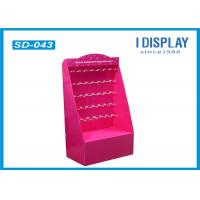 Wholesale Retail Pink Cardboard Hook Display Floor Stand , Cardboard Product Display Stands from china suppliers