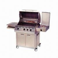 Wholesale 30-inch Stainless Steel Cart Barbecue Grill with Three Burners and Temperature Gauge from china suppliers