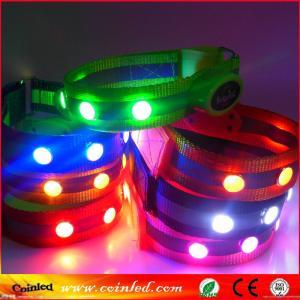Wholesale velcro nylon reflective safety crystal stud flashing LED bracelet wristband from china suppliers