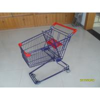 Wholesale Blue 3 Inch PVC Caster Wire Shopping Trolley , 75L Retail Shopping Carts from china suppliers