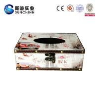 Wholesale Muticolored Canvas Printing Wooden Box/ Tissue Box/Paper Container for Paper Storage from china suppliers