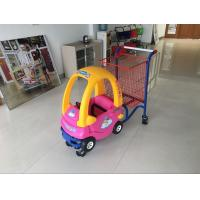 Wholesale Supermarket kids metal shopping trolley With Baby Car and safety belt from china suppliers