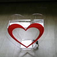 Wholesale Heart Shape Acrylic Donation Box W/ Lock Clear Charity Plexiglass Donation Box from china suppliers