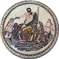 Wholesale Neptune God Of Sea Round Mosaic Art Patterns Handmade Mosaic Craft Tiles 100 X 100cm from china suppliers