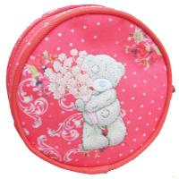 China Red Zip Pouch Wallet Kids Coin Purse Round 300D Polyester 12x12x5 cm on sale
