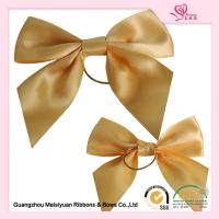 Wholesale Gold  pre tied elastic bows for boxes , beautiful ribbon hair bows from china suppliers