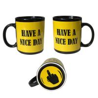 Buy cheap Finger Mug with 5 color styles Black Ceremic Printing Finger cup Mug 11oz/300ml from wholesalers