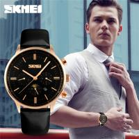 Wholesale Black Leather Stainless Steel Back Combination Digital Analog Watch 3 Atm from china suppliers