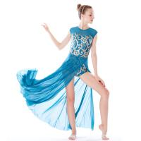 China MiDee Best Sell Lyrical Dance Costumes Dresses Floral Sequins Leotard Cap Sleeves Leg Opening for sale