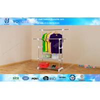 Wholesale Modern Stand Folding Double Pole Clothes Rack with Wheels / Portable Drying Hanger from china suppliers