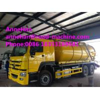 Wholesale 2017 New Howo7 10 Cbm Sewage Suction Truck 6x4 10tires For Sanitary Sewer Cleaning and rear lifting cover from china suppliers