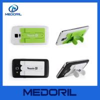 Buy cheap Smart phone wallet 3M sticky silicone mobile card holder with slap stand from wholesalers