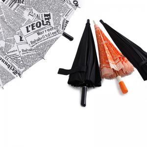 Quality 23 Inch 24 Ribs Attractive Fashion Design News Paper Printing Straight Umbrella for sale