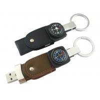 Wholesale Logo Pringting  Leather USB Flash Drive With Compass, Keyring For Business Promotion Gift from china suppliers