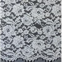 Wholesale Edge Nylon Viscose Cord Lace Fabric , Black Floral Scalloped Lace Fabric from china suppliers
