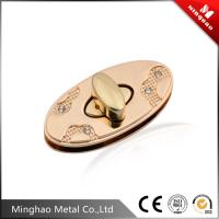 Quality 44mm oval zinc alloy light gold metal bag twist lock with diamond decoration for sale