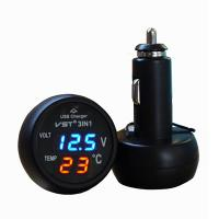 Wholesale Popular New 3 in 1 Digital LED car Voltmeter Thermometer Auto Car USB Charger 12V/24V Temp from china suppliers