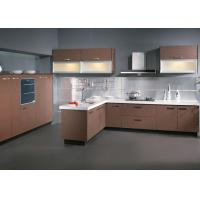 Wholesale L Shap Aluminium Frame Melamine Kitchen Cabinets With Frost Glass Doors Blum Hinges from china suppliers