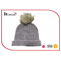 Wholesale Two Color Ribbed Mohair Acrylic Womens Knitted Beanie Hats With Faux Fur Pom from china suppliers