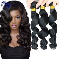 Wholesale Remy Human Double Weft  Virgin Cambodian Hair  Loose Wave Natural Black from china suppliers