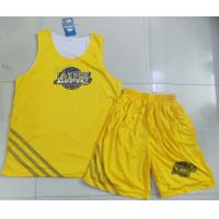 Wholesale Yellow Breathable Sublimated Basketball Uniform Round Neck Custom from china suppliers