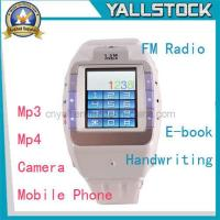 Wholesale MP4/3G/Camera/Bluetooth Watch Mobile Phone White (E03271) from china suppliers