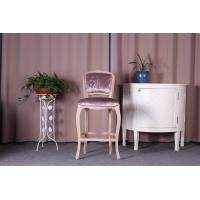 Quality Linen Velvet Fabric Wooden Upholstered Bar Stools / Counter Stools With Backs for sale