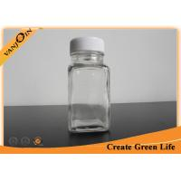 Wholesale 2oz Cute Unique Square Small Glass Bottles with lids , Plastic Cap Recycling Glass Drink Bottles from china suppliers