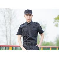 Polyester Cotton Cool Security Uniform Shirts Short Sleeve With Plain Dyed for sale