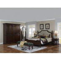 Wholesale Sandalwood Bedroom set Classic style BT-2902 High fabric Upholstered headboard Wooden king size bed with Cloth Wardrobe from china suppliers