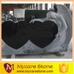 Wholesale natural shanxi black granite angle double heart headstone from china suppliers