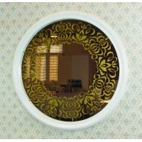 Wholesale Decorative pattern round beveled edges frame mirror from china suppliers