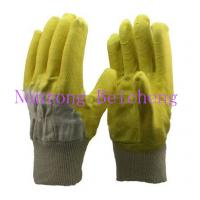 Wholesale Cotton Woven Fabric Latex Coated Gloves , Natural White Knit-wrist Open Back Dip Latex Crinkle from china suppliers