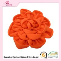 "Wholesale Orange rolled fabric roses fabric wedding flowers 4"" / 10cm eco friendly feature from china suppliers"