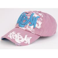 Wholesale 6 Panel Printed Pink Sport Baseball Caps Embroidered Cotton Twill Curved Brim from china suppliers