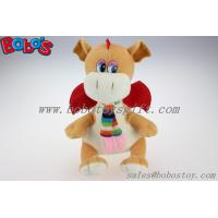 Wholesale Lovely EN71 Approved Brown Plush Stuffed Dinosaur Toy With Scarf from china suppliers