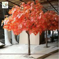 Wholesale UVG romantic artificial red maple tree in silk leaves and wood trunk for indoor home decorative GRE070 from china suppliers