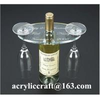 Wholesale Personalized Engraved Transparent Oval Acrylic Two Wine Glass Holder from china suppliers