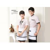 Casual Restaurant Staff Uniform , Short Sleeve Stripe Restaurant Work Shirts for sale