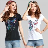 Wholesale CUSTOM LOGO women 150g short sleeve T SHIRT transfer sublimation 100%COTTON T-shirt from china suppliers