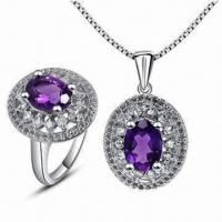 Wholesale 925 Silver Jewelry with Amethyst and K Gold Plating from china suppliers