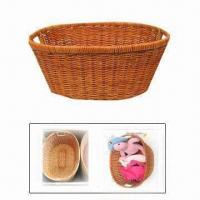 China Sundries Toys Dirty Clothes Washing Storage Basket in Pastoral Style, Made of Grass Rattan/Iron on sale