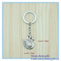 Wholesale Shinny Gifts Metal swan shape promo key chain from china suppliers
