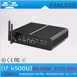 Buy cheap Fanless Media Player PC Core i7 Mini PC Windows 8.1 2 Nics 2 HDMI SD Card Industrial Deskt from wholesalers