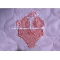 Wholesale High Waist Pink Crochet Swimwear Push Up Pear Shape , Two Piece Knitted Bikini from china suppliers