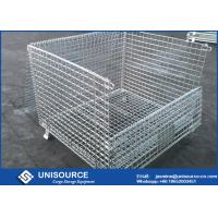 Wholesale Stacking Metal Steel Wire Cage 800 ~ 2000kg Load Foldable With Wooden Pallet from china suppliers