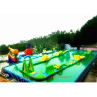 Steel Frame Pool Inflatable Water Park / Inflatable Theme Park For Playground
