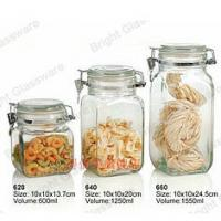 Wholesale empty food storage glass airtight jar with glass lid and metal cilp from china suppliers