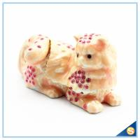 Wholesale Yellow And Pink Cat Shape Crystal Trinket Box For Sale SCJ602 from china suppliers