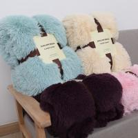 Wholesale Polyester Pure Color Faux Fur Fleece Blankets , Blush Faux Fur Blanket 200*220cm from china suppliers